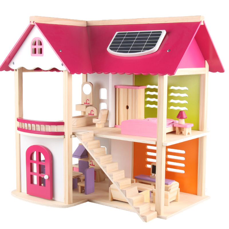 Big Size DIY Toys Doll House Large Accessories Miniature Furniture Wooden Dollhouse Model Toy For Girls Gift Make Up Room