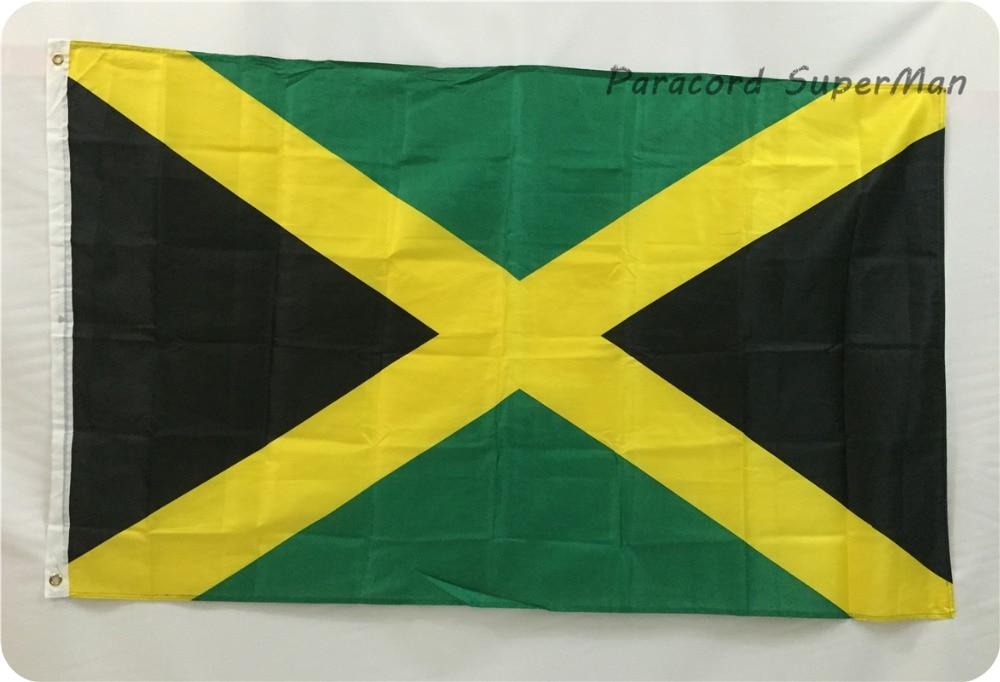 Jamaikan kansallislippu 3ft x 5ft roikkuva lippu polyesteri Jamaikan lippu banderolli sisätiloissa 150x90cm iso lippu juhlaan