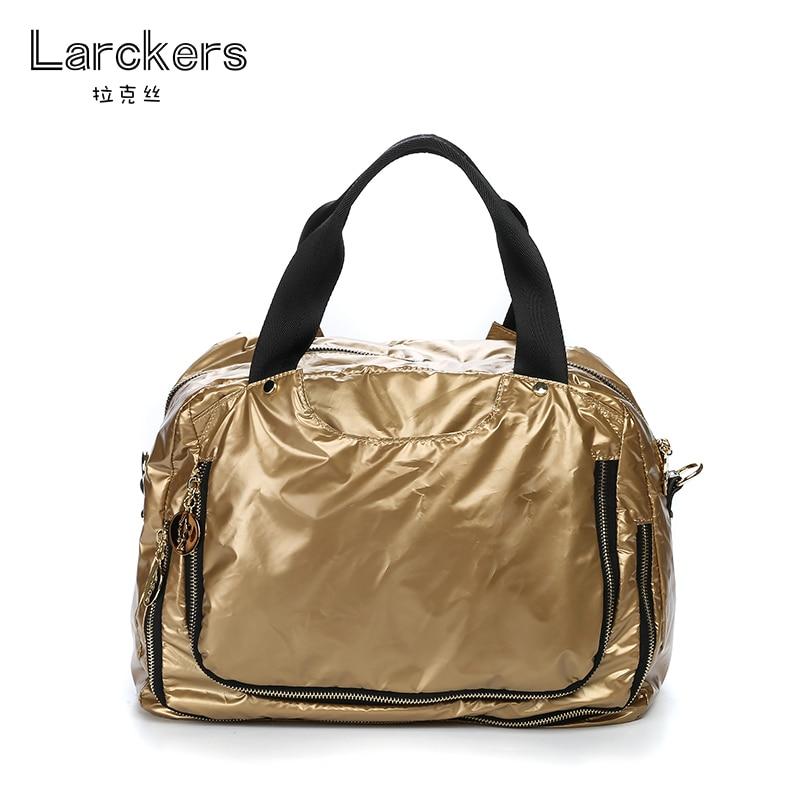 Larckers marque femmes mode nylon solide brillant sac à main bonne capacité utilisation doux sac à bandoulière double fermeture éclair poche sac à bandoulière
