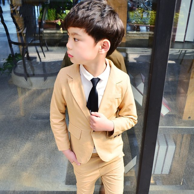 Online Shop ActhInK 2018 Spring Baby Boys Beige Suit for Wedding ...