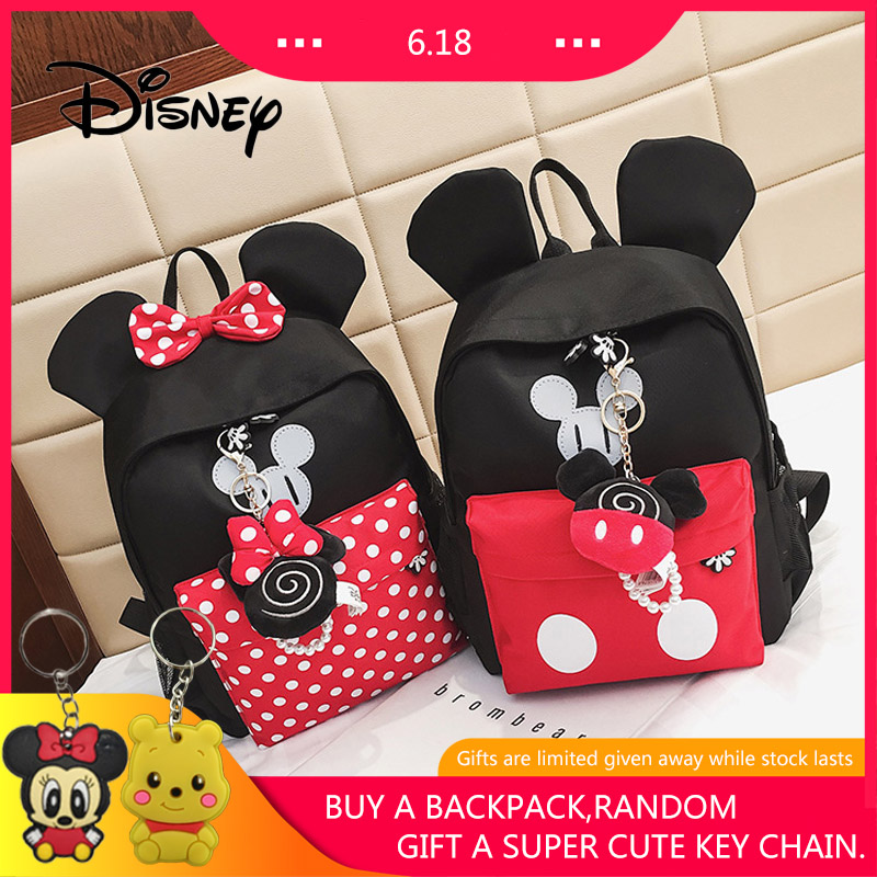 2019 Disney New Children Girls School Bag Mickey Mouse Backpack Cute Kids Boy Girl Backpacks Cartoon Kindergarten Bags Plush Bag girl