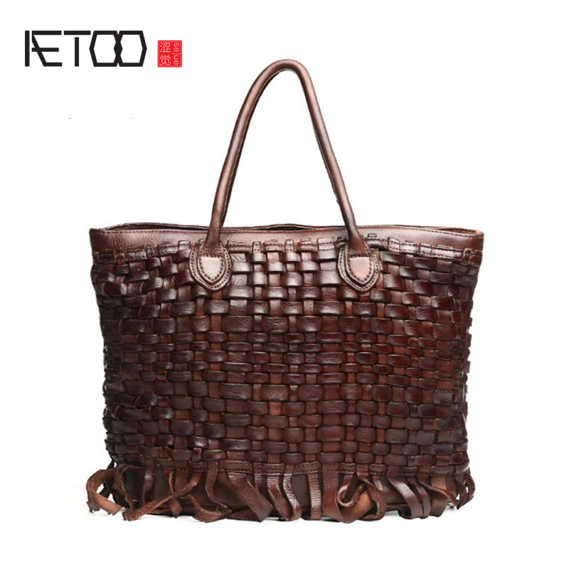AETOO The new leather handbags Europe and the United States trend of women 's shoulder wrapped tannage woven tide package chic off the shoulder asymmetrical women s blouse