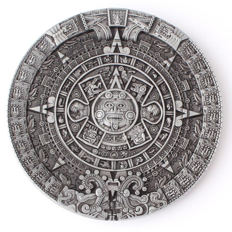The Aztec Solar Calendar Belt Buckle