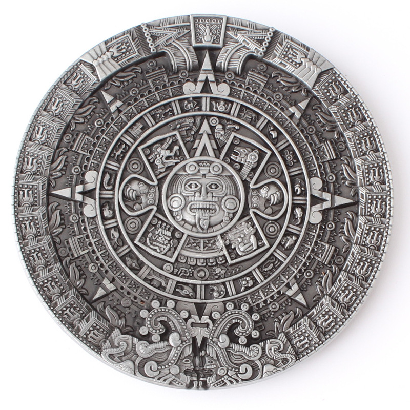 The Aztec Solar Calendar Belt Buckle