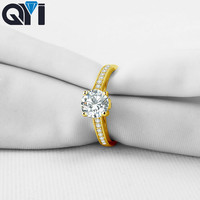 QYI 1 ct 14K Solid Yellow Gold Solitaire Engagement Ring Round Cut Sona Simulated Diamond Rings For Women