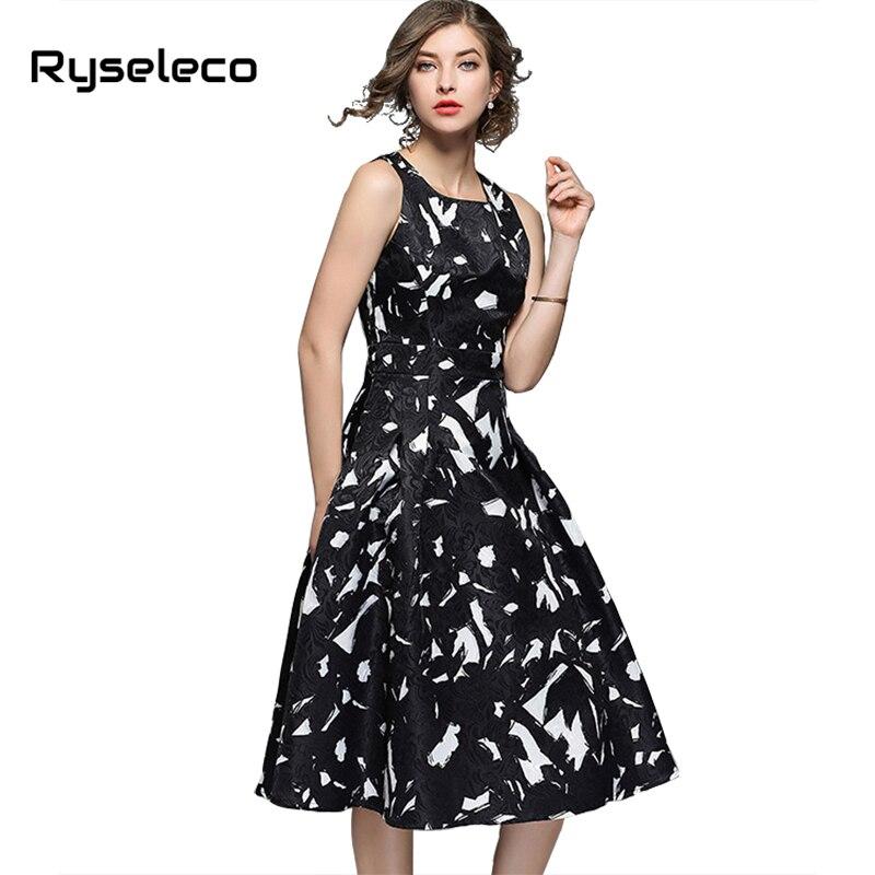Ryseleco Quality Oil Paint Print Casual A Line Women Office Dresses Sleeveless Elegant Jacquard Slim Party Midi Party Vestidos