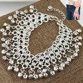 Bohemio de la vendimia de Campana Pulsera de Plata Tibetana Beads charm Bangle Pulseras para las mujeres