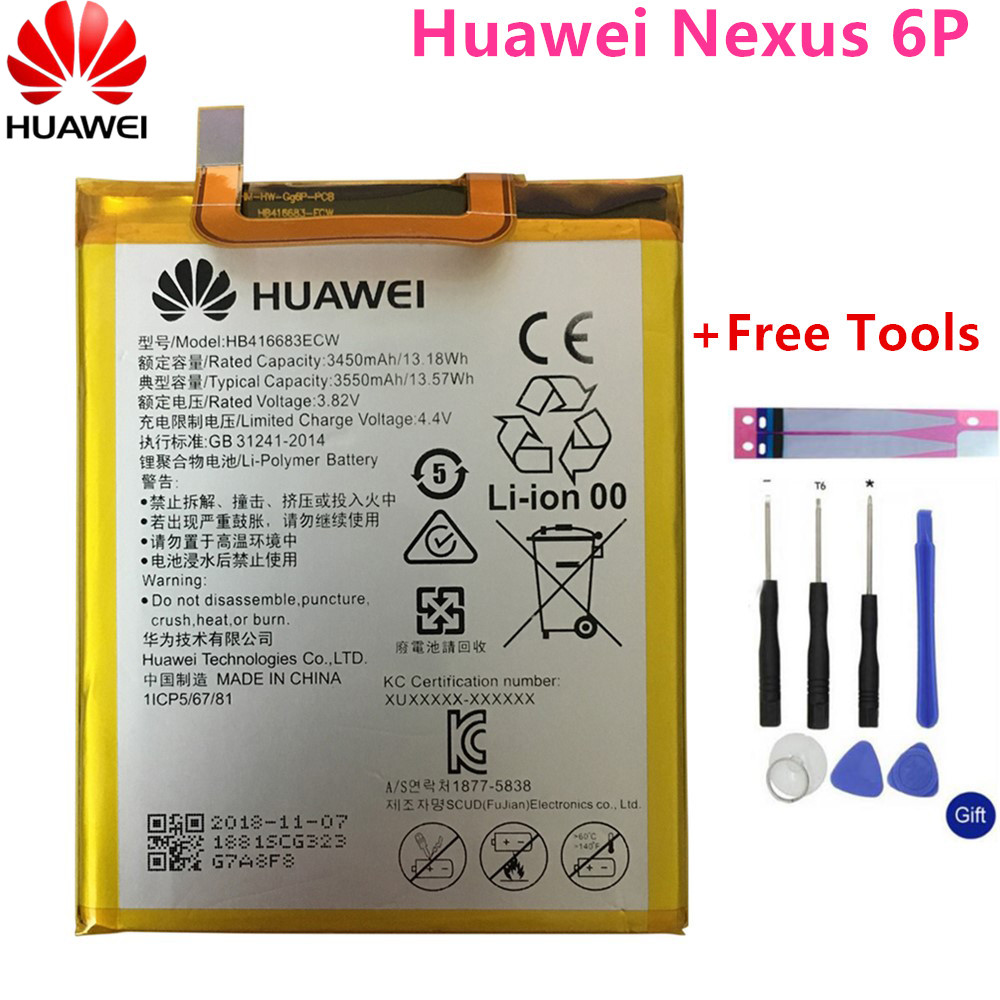 Huawei Phone-Battery HB416683ECW Nexus 6p Rechargeable H1511 Li-Ion Original For H1511/H1512/3450mah/Free-tools