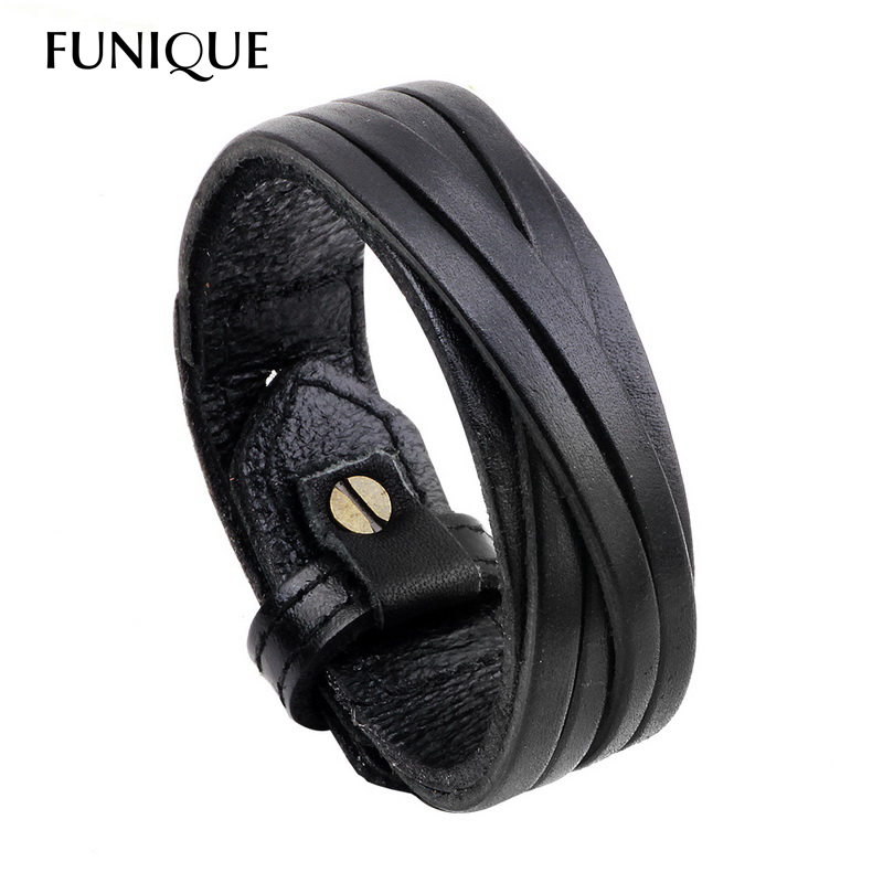 FUNIQUE Punk Rock Men Genuine Leather Bracelet  & Bangles for Women Vintage Black Brown Belt Wrap Bracelet