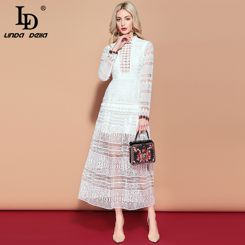 LD LINDA DELLA Maxi Long Dress Women s Long Sleeve Lace Hollow out Embroidery Dress Solid