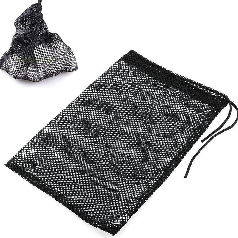 Black HobbyLane Sports Mesh Net Bag Nylon Golf Tennis 12/25/50 Ball Carrying Drawstring Pouch 1pcs Golf Bags Golf Accessories