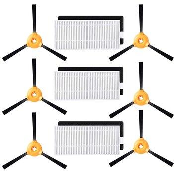 3 sztuk filtr Hepa + 3 sztuk filtry gąbki + 6 sztuk szczotka boczna dla Ecovacs Deebot N79S N79 odkurzacz Robot części zamienne