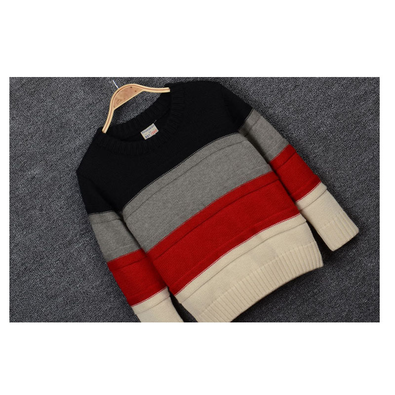 d532b10e54 kids boys triple color block striped knitted pullover cotton casual fall  winter sweaters child fashion outwear sweater clothes-in Sweaters from  Mother ...