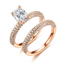 ZN 2019 Fashion High Quality AAA Cubic Zirconia Rose Gold Double Ring  Engagement Wedding Rings For Women Gift