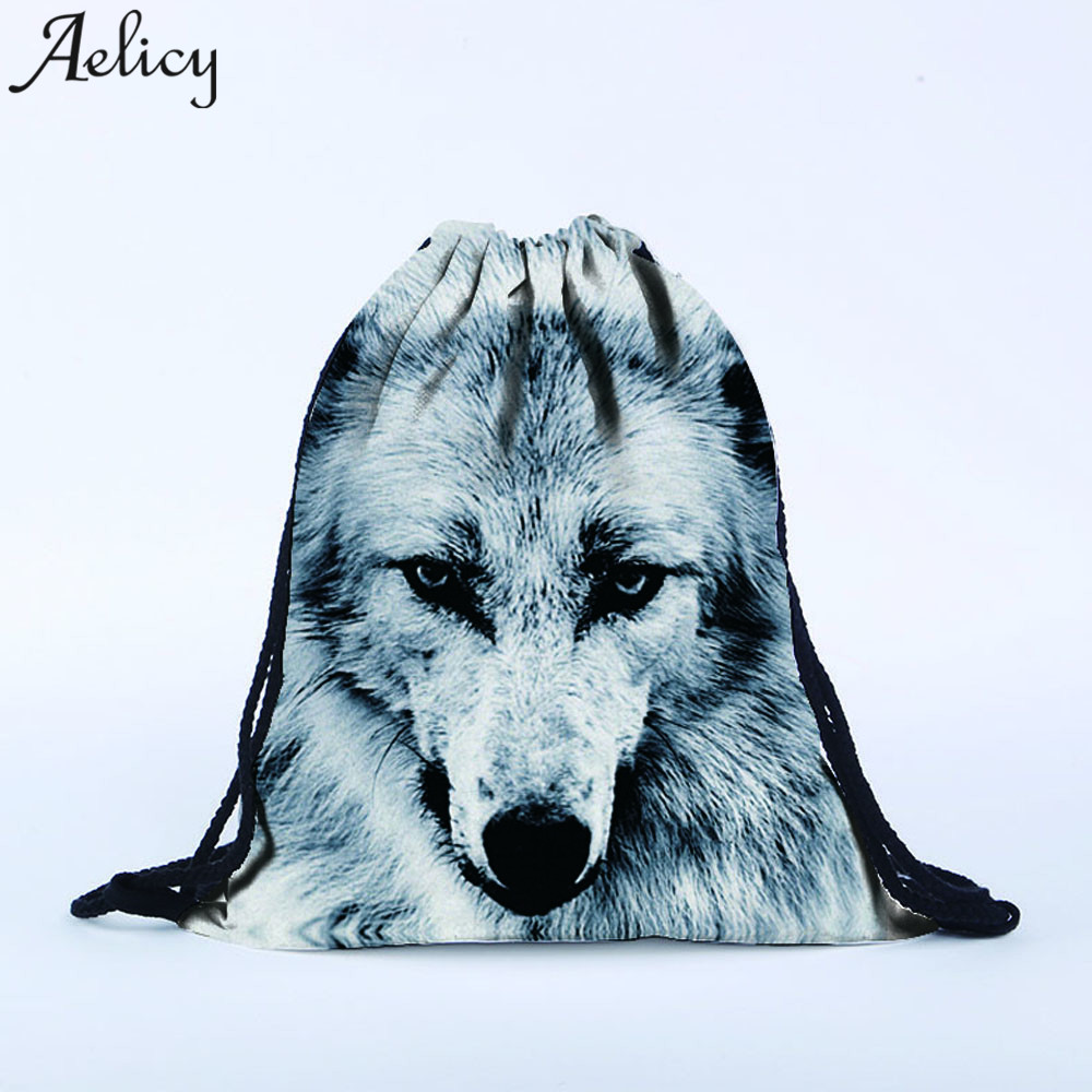 Aelicy 2018 bag Women Men Polyester Unisex 3D Wolf Printing Backpack Hand Small Port Storage Bag Gift Travel Bag hot!
