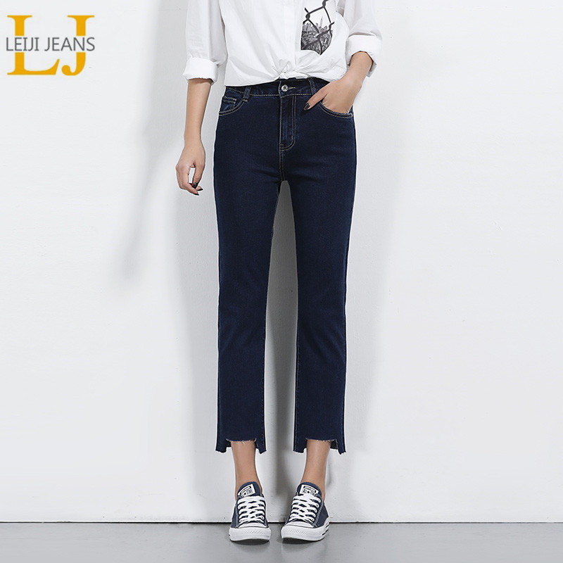 LEIJIJEANS Spring Plus Size 4 Solid Color Irregular Cuff High Waist Ankle Length Casual Loose Straight Stretch Women   Jeans   5628