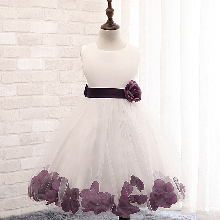 Elegant Flower Petals Girl Dress Birthday Wedding Party Baby Kids frock Princess Dresses costume vestido 2 4 6 8 10 Years - Hot Summer Factory store