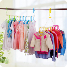Multifunctional Airer For Ten Children Even Plastic Hangers Windproof And Skidproof Folding Clothes Hanger