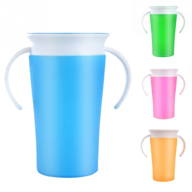 Bebê menino bebida 360 graus milagre treinamento seguro anti derramamento copo criança 260ml milagre 360 sippy trainer macio fácil limpo copo