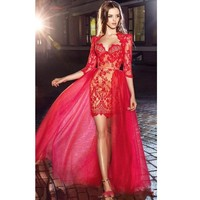 Красивая красная Аппликация Кружева прозрачные вечерние наряды с половиной рукава Hi Lo короткое платье для выпускного бала Гость платье DQG787