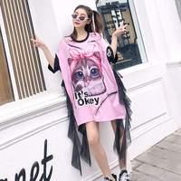 Women Pink Top Tees Mesh Spliced Ruffles Shirt Femme Cat Graffiti 2018 New Summer T Shirt