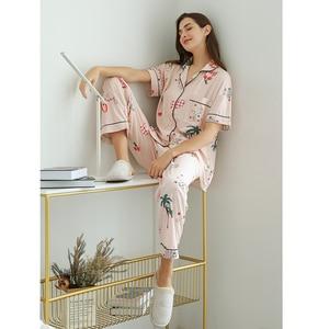 Image 3 - FINETOO נשים פיג מה סטי קיץ קצר בגדי הלבשת יפה הדפסת פיג מה כותנה ארוך מכנסיים נקבה הלבשת גברת בית ללבוש