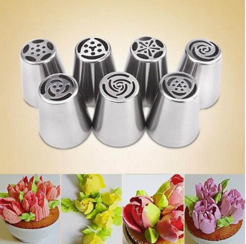 7 Stks/set Russische Tulp Icing Piping Nozzles Cake Decoratie Tips 3d Printer Nozzle Koekjes Sugarcraft Pastry Diy Baking Tool