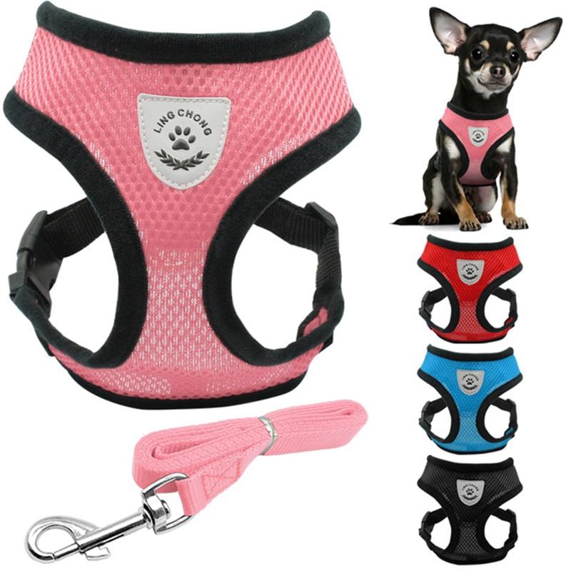 Mjukt Andas Mesh Liten Hund Pet Harness och Leash Set Hundkrage Valp - Produkter för djur