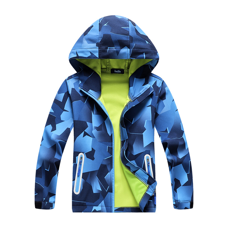 Image 5 - Children Outdoor Jackets Coats Boys Composite Soft Shell Waterproof Breathable Hooded Jacket Kids Cotton Fashion Jackets-in Jackets & Coats from Mother & Kids