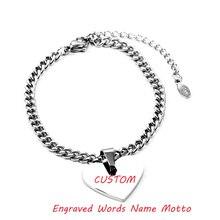 df4f98e9a984 Corazón de Metal grabado nombre pulsera cercanas Motte Placa de gruesas  cadenas Dropshipped de acero inoxidable joyería de la am.