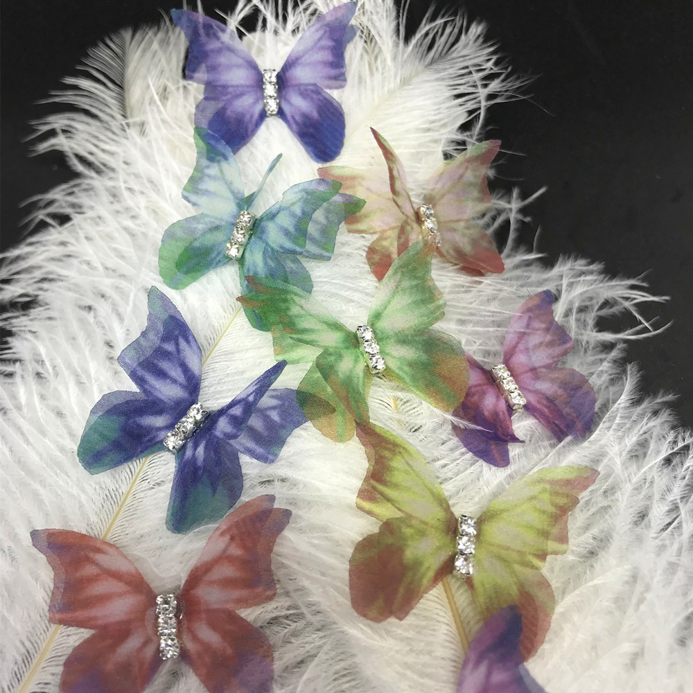 1PCS Double Layers Chiffon Yarn Butterfly Patches for Wedding Dress DIY Applique Clothes Fashion Stickers for Veil Decoration in Patches from Home Garden