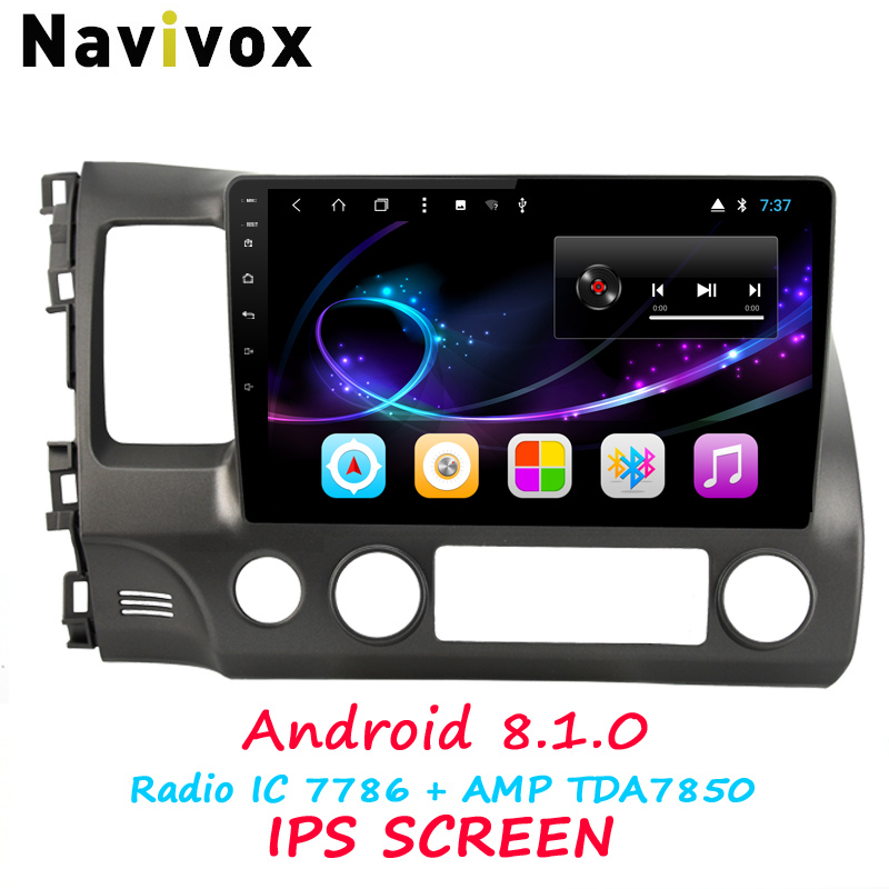 Navivox 10.1'' Full Touch Android 8.1 Car GPS Navigation Player For Honda Civic 2006-2011 RDS/WIfi/BT/SWC/3G/4G HD1080P(no dvd) navivox android7 1 8 1 universal gps navigation radio stereo audio player for nissan for hyundai rds swc bt wifi no dvd