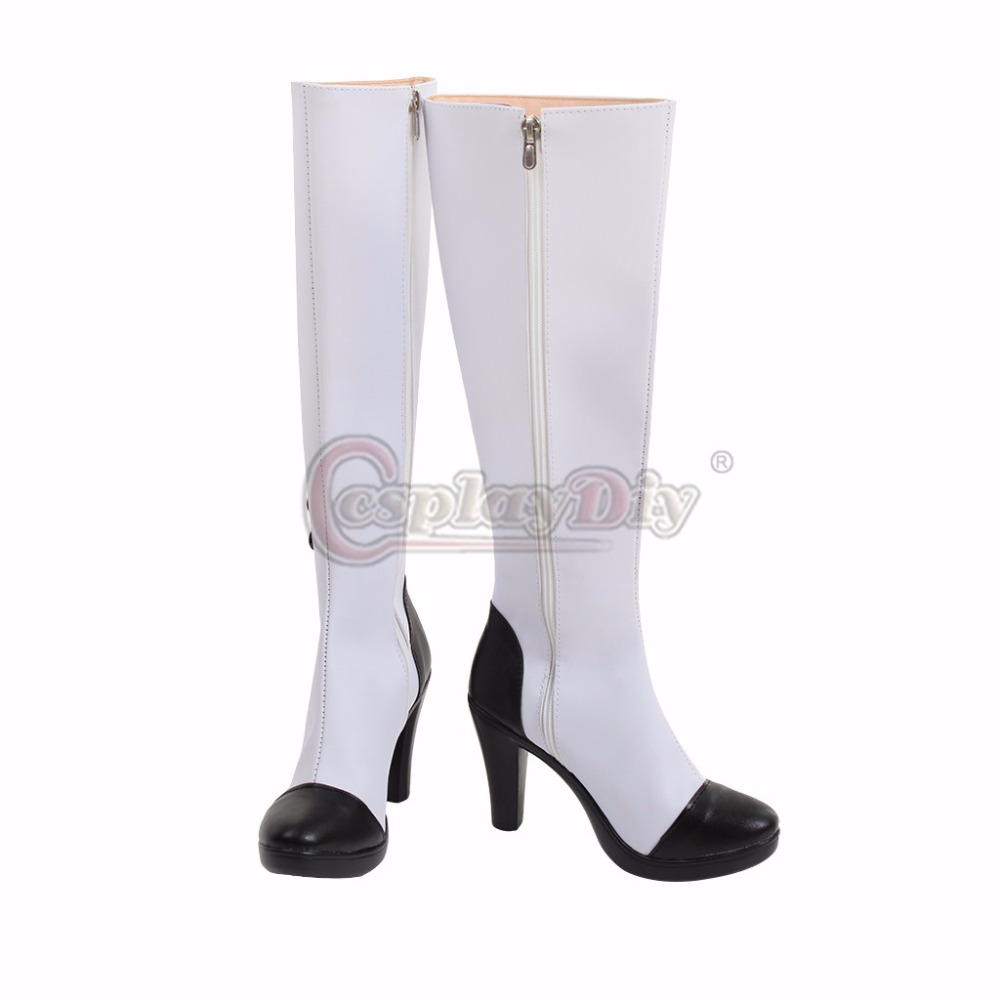 Custom Made RWBY Neo Cosplay Boots Adult Women's Knee High Heels Button Zip Casual White Long Boots