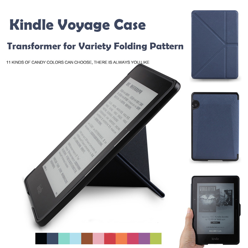 WALNEW Original Business High Quality Leather Case for Amazon Kindle Voyage 2014 6 inch E-book Cover Transformer Variety Folding walnew leather case for amazon kindle paperwhite 6 inch e book cover fits all versions 2012 2013 2014 and 2015 all new 300 ppi