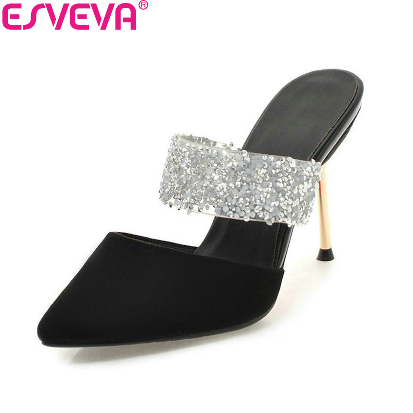 ESVEVA 2018 Women Pumps Suede Slip on Pointed Toe Pumps Sexy Slingback Shoes Bling Bling Thin High Heels Women Shoes Size 34-43 esveva 2018 women pumps elegant butterfly knot pointed toe square high heels pumps suede slip on pumps women shoes size 34 39
