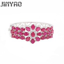 JINYAO Fashion White Gold Color Red Zircon Charm Wrist Bracelet Bangle For Women Wedding Party Jewelry