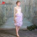 2016 Real Picture Sheer Short Cocktail Dresses Champagne Lilac Purple Tea Length Long Sleeves Arabic Dubai Prom Party Dress