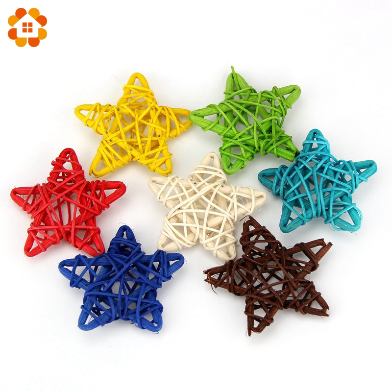 10PCS Lovely 6CM Rattan Star Sepak Takraw Home Wedding Christmas/Birthday/Party DIY Ornaments Rattan Ball Kids Toys Decorations