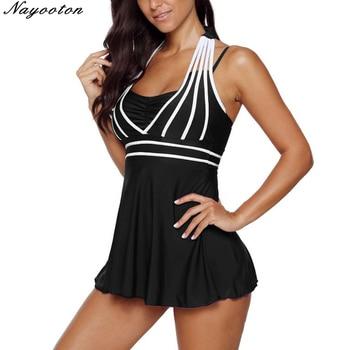 Plus size 5XL One Piece Swimwear Women Halter Swimdress Two Pieces Tankini Set Monokini Bathing Suit swimsuit 1