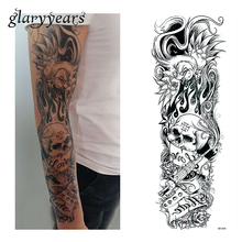 1 Sheet Water Transfer Tattoo Sticker Full Flower Arm Sleeve Art Skull Flower Pattern Big Large Temporary Tattoo Sticker QB-3020