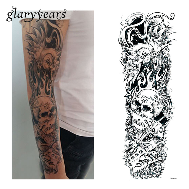 bfcb397b1 1 Sheet Water Transfer Tattoo Sticker Full Flower Arm Sleeve Art Skull  Flower Pattern Big Large
