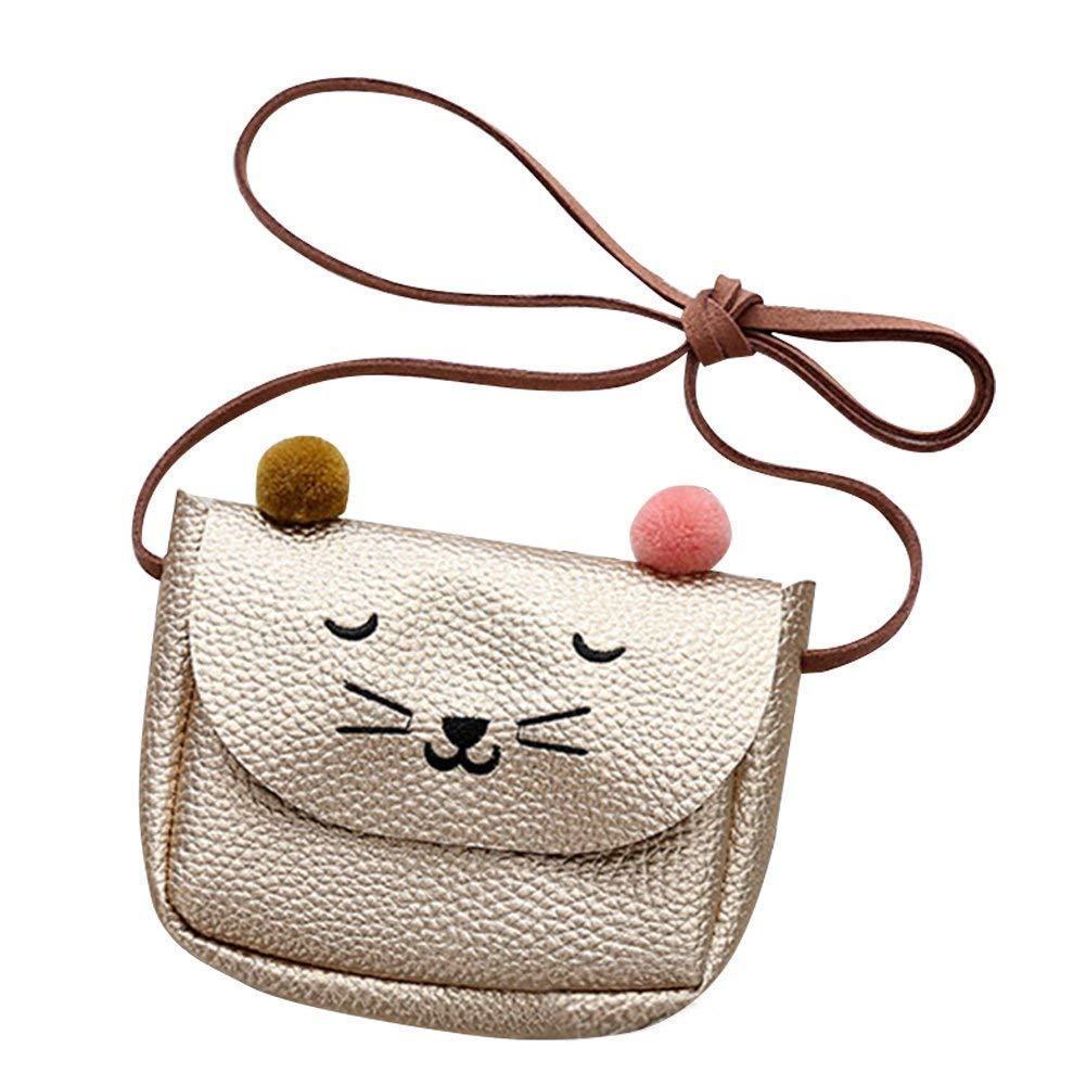 PU Leather Kids Cat Face Mini Messenger Bag Baby Girls Handbag Coin Purse Children Crossbody Bag for Girls Ladies Shoulder Bags shoulder bag