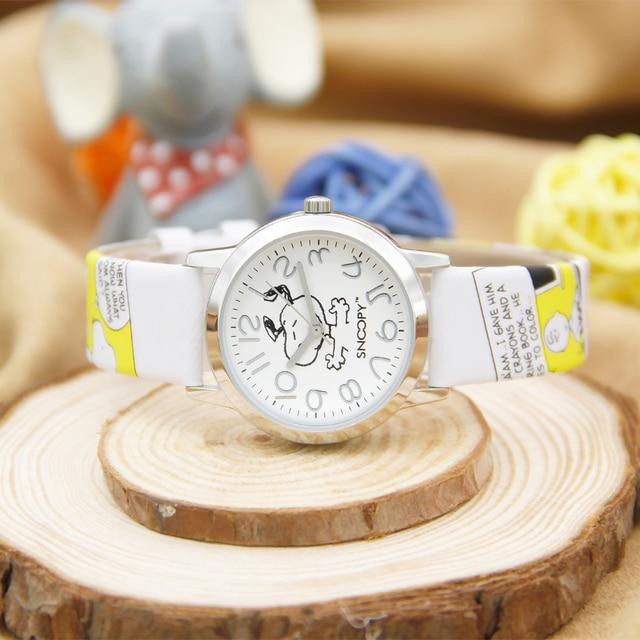Snoopy Fashion Women Men Watch Kids Children Watches Leather Strap Cartoon Genuine Brand Quartz Wristwatches Waterproof Clock 3