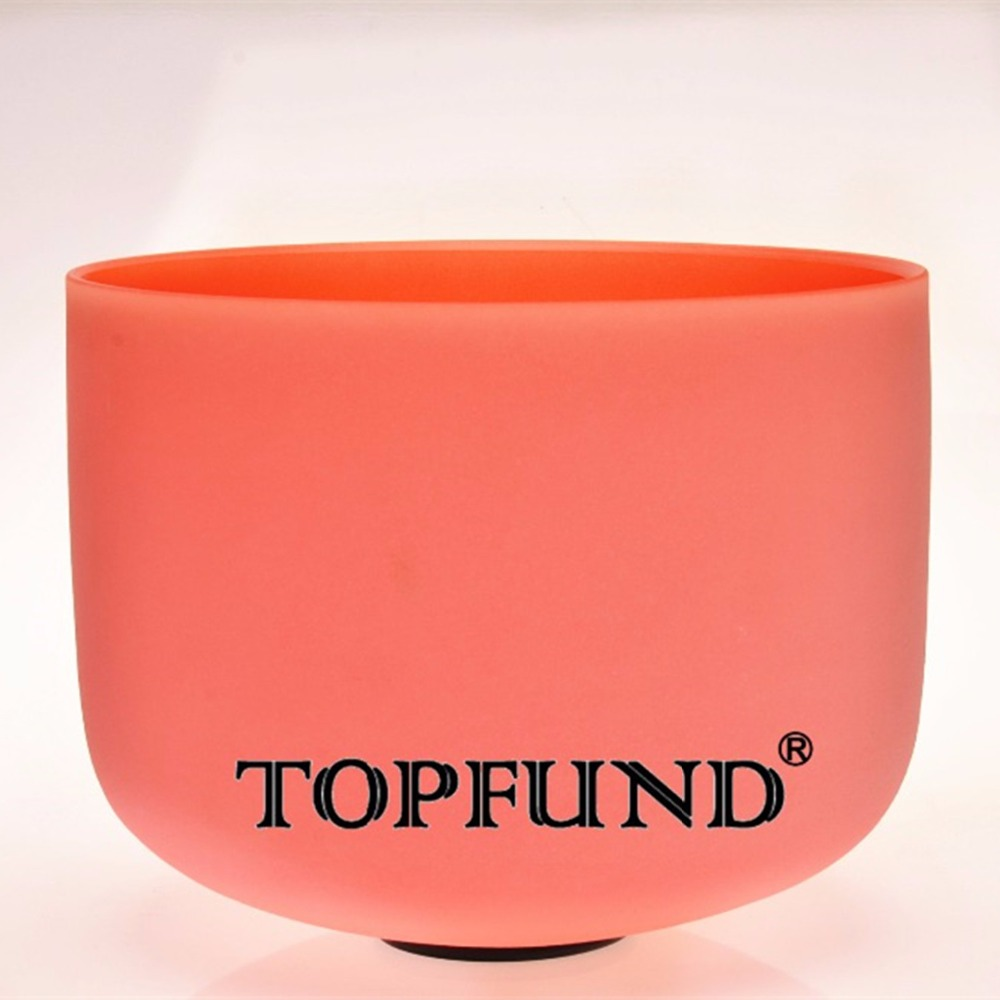 TOPFUND Orange Colored Frosed Quartz Crystal Singing Bowl 432HZ Perfect Pitch D Sacral Chakra 10 -With Free Mallet and O-Ring topfund red color perfect pitch c adrenals chakra frosted quartz crystal singing bowl 10 with free mallet and o ring