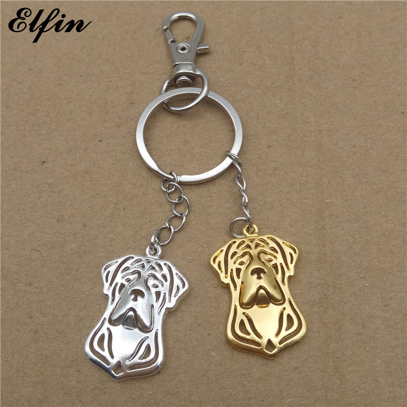 Elfin 2017 Trendy Cane Corso Key Chains Gold Color Silver Color Animal Pet Jewellery Fashion Dog Key Rings For Women Men