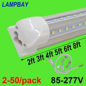 Image 1 - 2 50/חבילה V בצורת LED אורות צינור 2ft 3ft 4ft 5ft 6ft 8ft 270 זווית הנורה T8 מתקן משולב Linkable בר מנורת סופר בהיר
