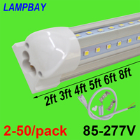 2 50/pack V shaped LED Tube Lights 2ft 3ft 4ft 5ft 6ft 8ft 270 angle Bulb T8 Integrated Fixture Linkable Bar Lamp Super Bright