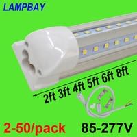 2 50/pack V shaped LED Tube Lights 2ft 3ft 4ft 5ft 6ft 8ft 270 angle Bulb T8 Integrated Fixture Linkable Bar Lamp Super Bright