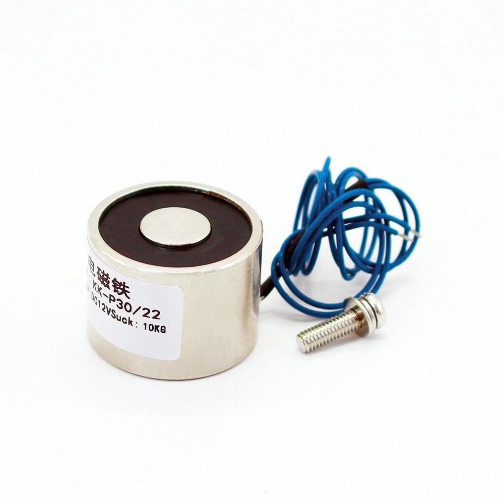 30*22 DC 6V 12V 24V Waterproof Energized Hold Electromagnet 10kg Sucker electric magnet coil portable lift powerful 12 solenoid dc 24v 1 2a 18mm 0 3kg pull electric solenoid electromagnet coil