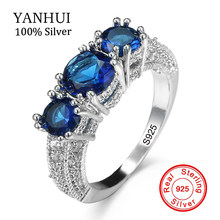 Best Selling 7 Colors Authentic 100% 925 Sterling Silver Ring Set 3pcs Natural Gem Stone CZ Ring Original Wedding Jewelry KRA078(China)